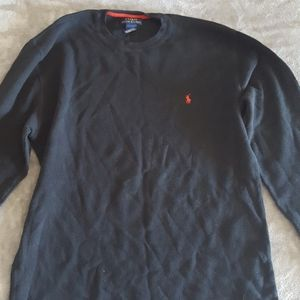 Black Polo thermal sweater